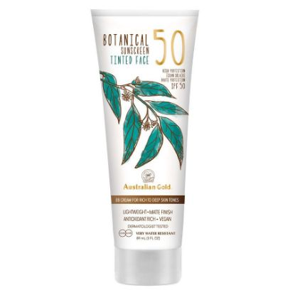 Bild von Australian Gold BOTANICAL Sunscreen SPF 50 Tinted Face dark skin tones