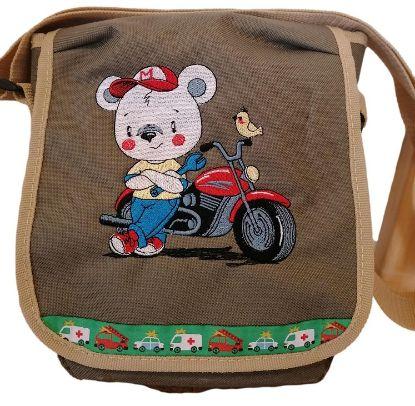 """Bild von Kindergartentasche """"Motorradbär"""" 💥 PERSONALISIERBAR"""